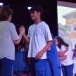 Estudantes do Consa cumprimentam os estudantes do Colégio Franciscano Santa Isabel