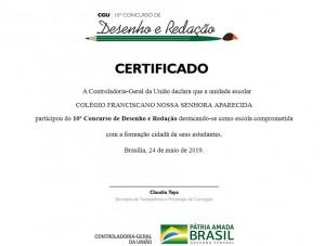 CERTIFICADO PARTICIPAÇÃO CONCURSO DESENHO E REDAÇÃO 2018